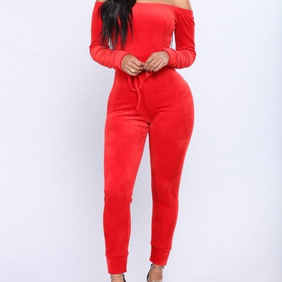 Fashion Nova Pants Jumpsuits Need A Hug Velour Jumpsuit Red Small Poshmark